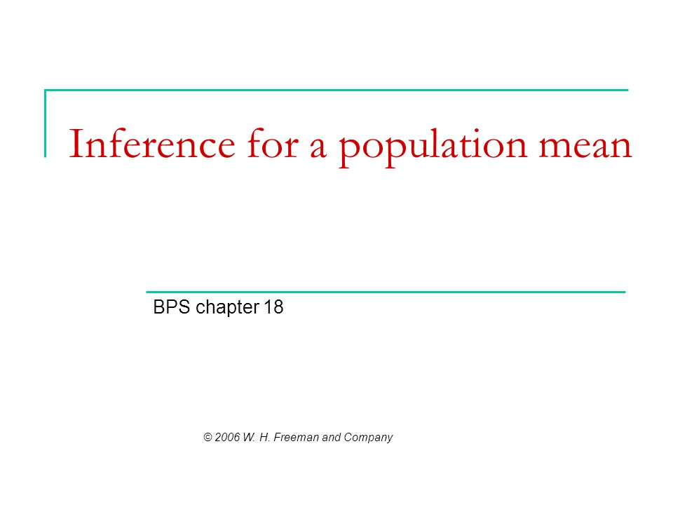 Inference for a population mean BPS chapter 18 © 2006 W. H. Freeman and Company