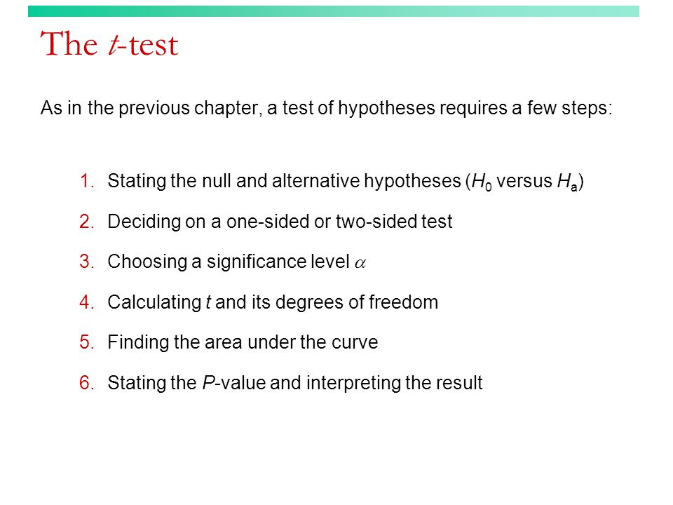 The t-test As in the previous chapter, a test of hypotheses requires a few steps: 1.Stating the null and alternative hypotheses (H 0 versus H a ) 2.Deciding on a one-sided or two-sided test 3.Choosing a significance level  4.Calculating t and its degrees of freedom 5.Finding the area under the curve 6.Stating the P-value and interpreting the result