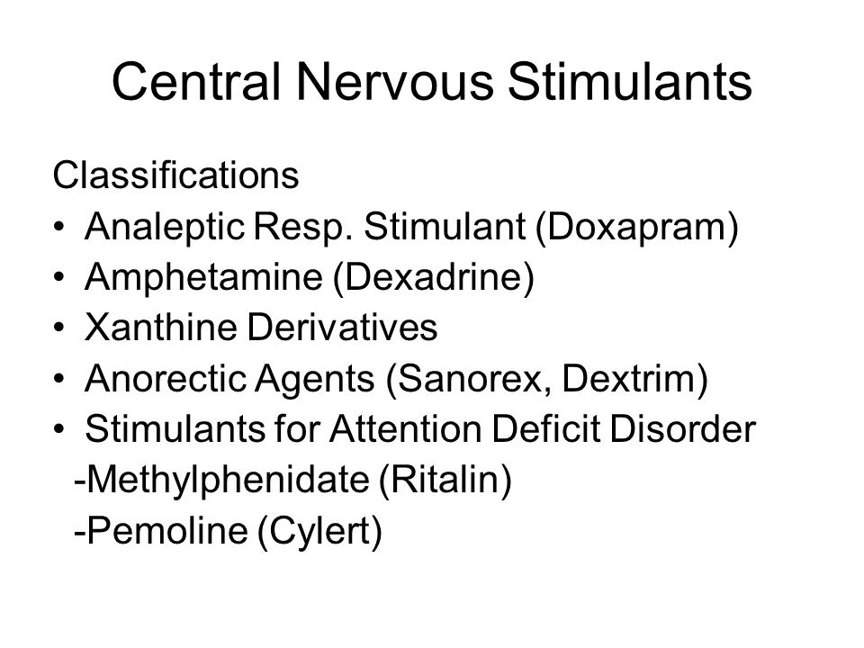 Central Nervous Stimulants Classifications Analeptic Resp.