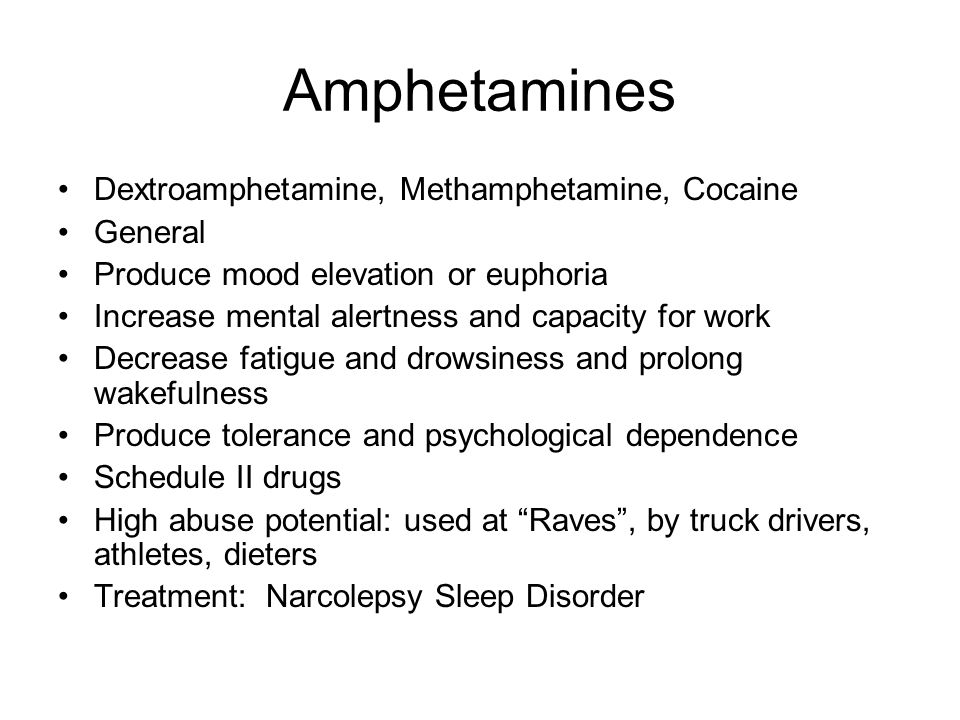 Nursing Implications Amphetamines Observe closely for signs of tolerance Monitor for Drug Interactions Teaching Last dose 6 hr.