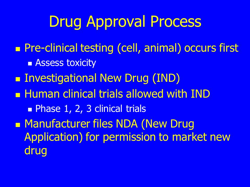 Drug Approval Process Pre-clinical testing (cell, animal) occurs first Assess toxicity Investigational New Drug (IND) Human clinical trials allowed wi