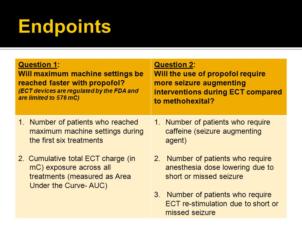  Baseline characteristics:  Independent samples two-tailed t-tests  Chi-square  Question #1:  Patients who reached maximum machine settings during the first six treatments (Chi-Square)  Cumulative total ECT charge measured across treatments (Wilcoxon-Mann-Whitney test)  Question #2 (Chi-Square):  Patients who used seizure lowering agent (caffeine)  Patients who needed re-stimulation with higher ECT stimulus charge  Patients who needed their anesthesia dose lowered  Statistical significance defined at p<0.05