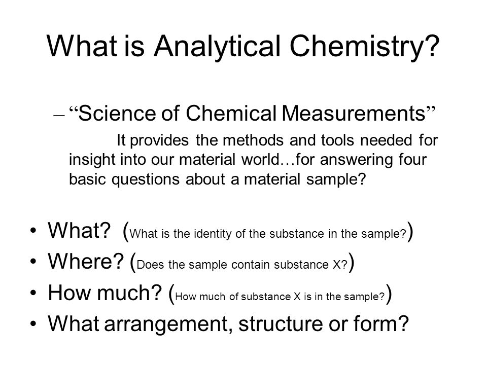 What is Analytical Chemistry.