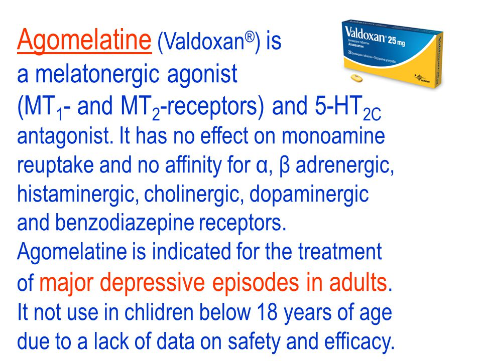 Trazodone acts by antagonism of central presynaptic alpha-2-adrenoceptors. It is an option for depressed patients where heavy sedation is required. Tr