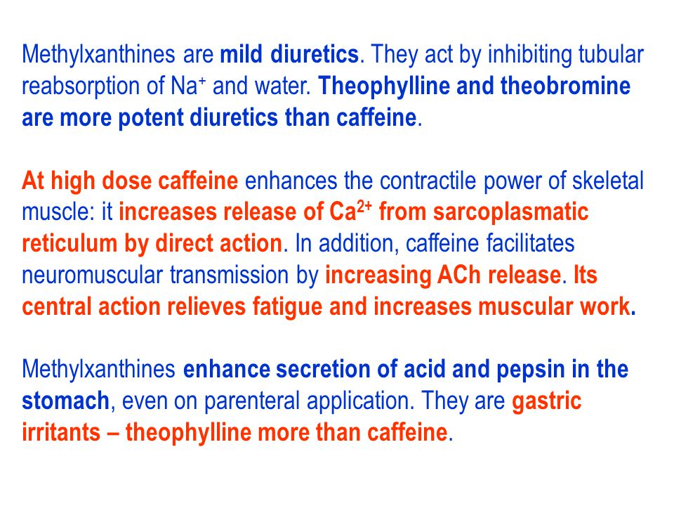 ATP3', 5'-AMP cAMP Lipolysis (–) ACPD Cholesterol synthesis Caffeine > 300 mg/d: 5–6 coffee cups daily (+) Hypercholesterolemia