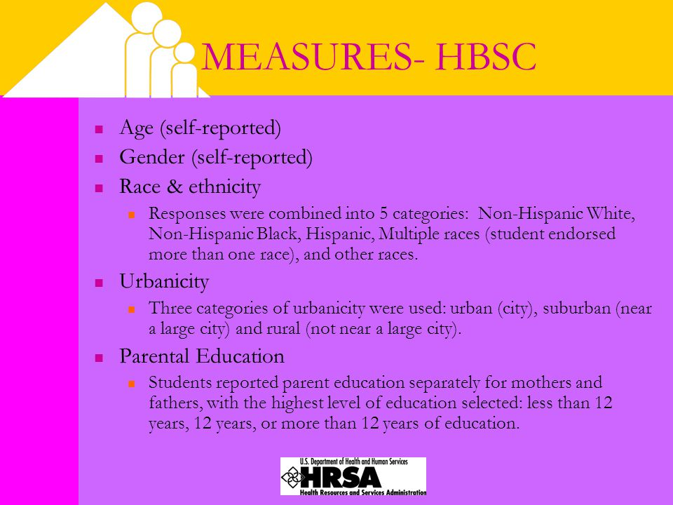 MEASURES- HBSC Age (self-reported) Gender (self-reported) Race & ethnicity Responses were combined into 5 categories: Non-Hispanic White, Non-Hispanic