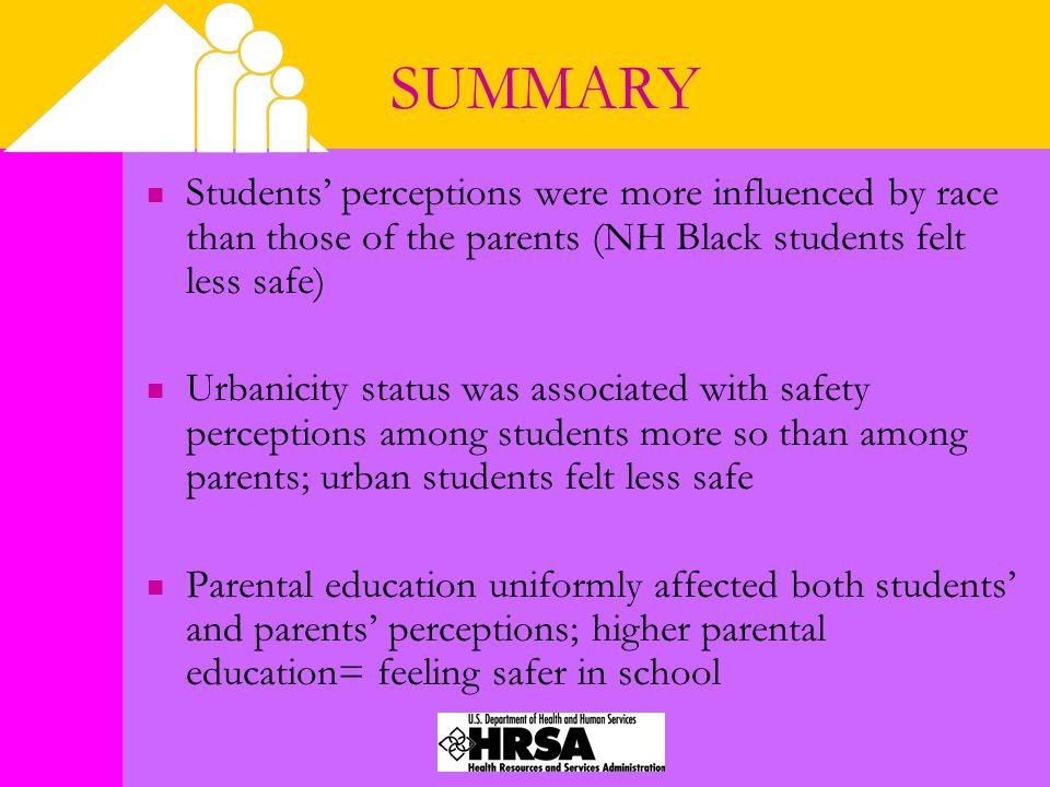 SUMMARY Students' perceptions were more influenced by race than those of the parents (NH Black students felt less safe) Urbanicity status was associat