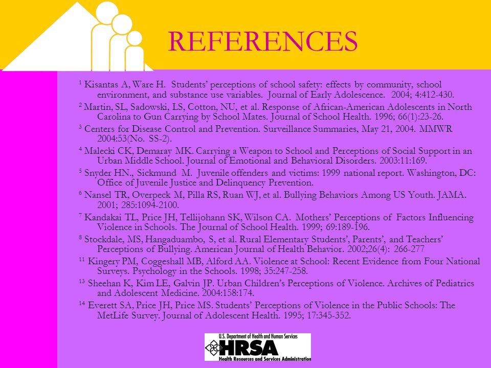 REFERENCES 1 Kisantas A, Ware H.