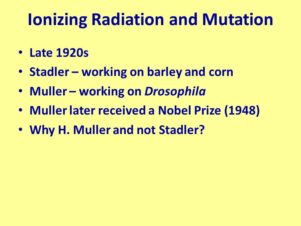 Ionizing Radiation and Mutation Late 1920s Stadler – working on barley and corn Muller – working on Drosophila Muller later received a Nobel Prize (19