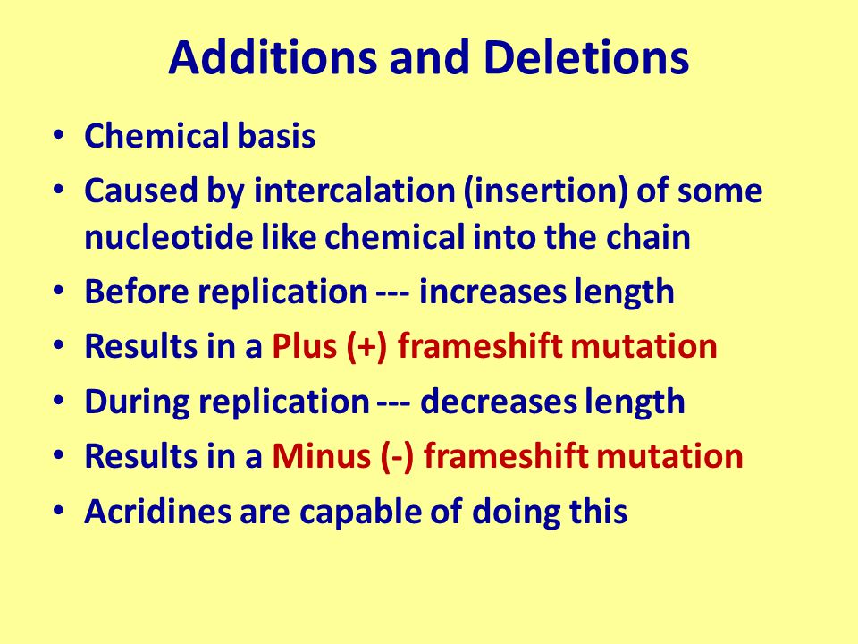 Additions and Deletions Chemical basis Caused by intercalation (insertion) of some nucleotide like chemical into the chain Before replication --- incr
