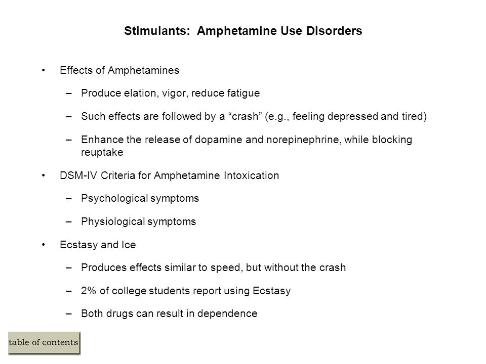 Stimulants: Amphetamine Use Disorders Effects of Amphetamines –Produce elation, vigor, reduce fatigue –Such effects are followed by a crash (e.g., feeling depressed and tired) –Enhance the release of dopamine and norepinephrine, while blocking reuptake DSM-IV Criteria for Amphetamine Intoxication –Psychological symptoms –Physiological symptoms Ecstasy and Ice –Produces effects similar to speed, but without the crash –2% of college students report using Ecstasy –Both drugs can result in dependence