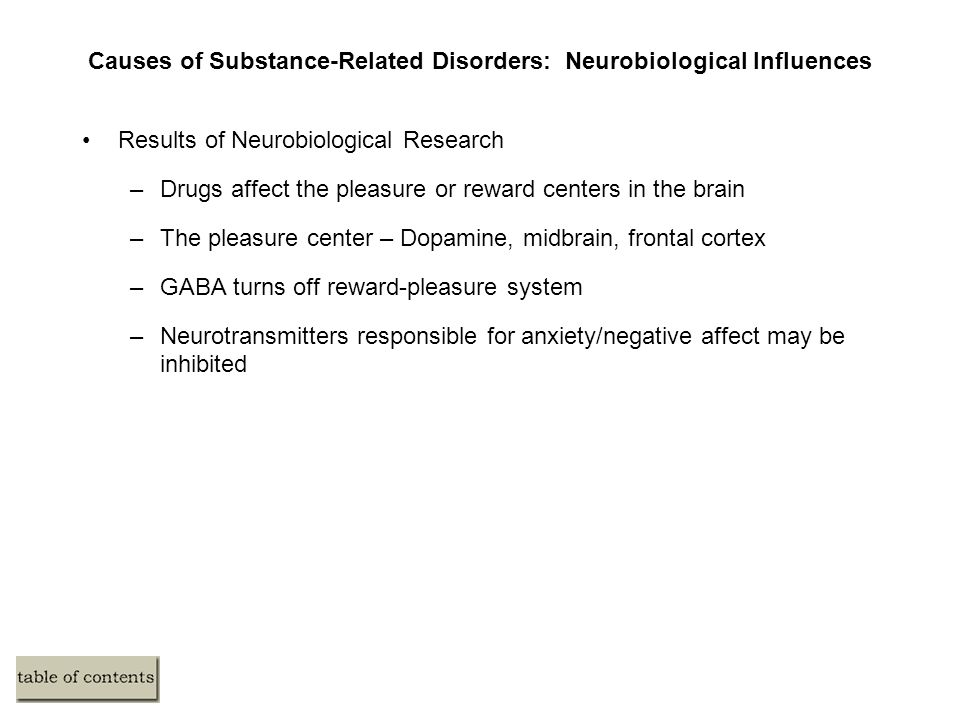 Causes of Substance-Related Disorders: Neurobiological Influences Results of Neurobiological Research –Drugs affect the pleasure or reward centers in the brain –The pleasure center – Dopamine, midbrain, frontal cortex –GABA turns off reward-pleasure system –Neurotransmitters responsible for anxiety/negative affect may be inhibited