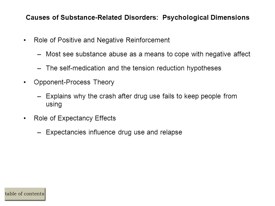 Causes of Substance-Related Disorders: Psychological Dimensions Role of Positive and Negative Reinforcement –Most see substance abuse as a means to cope with negative affect –The self-medication and the tension reduction hypotheses Opponent-Process Theory –Explains why the crash after drug use fails to keep people from using Role of Expectancy Effects –Expectancies influence drug use and relapse