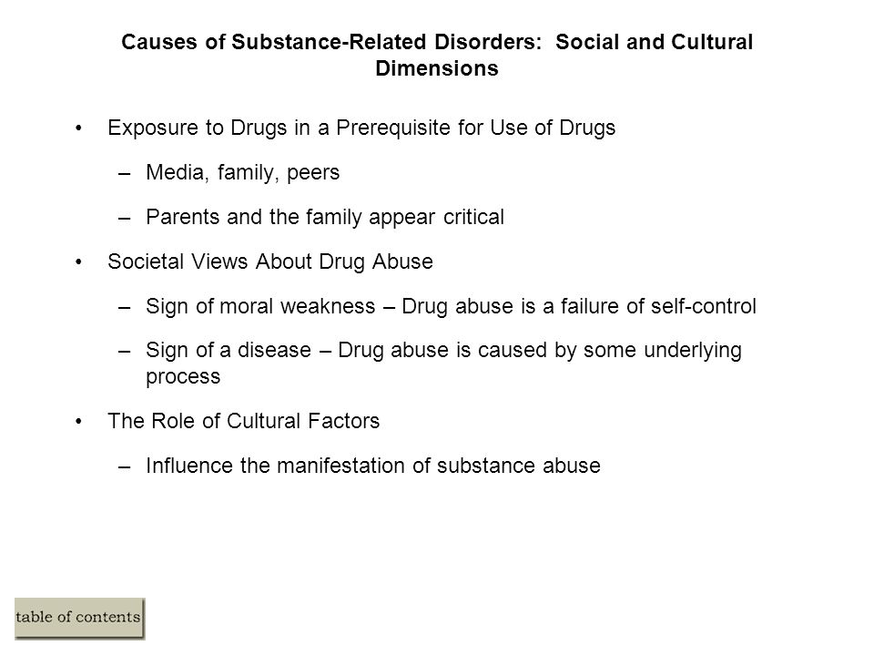 Causes of Substance-Related Disorders: Social and Cultural Dimensions Exposure to Drugs in a Prerequisite for Use of Drugs –Media, family, peers –Parents and the family appear critical Societal Views About Drug Abuse –Sign of moral weakness – Drug abuse is a failure of self-control –Sign of a disease – Drug abuse is caused by some underlying process The Role of Cultural Factors –Influence the manifestation of substance abuse