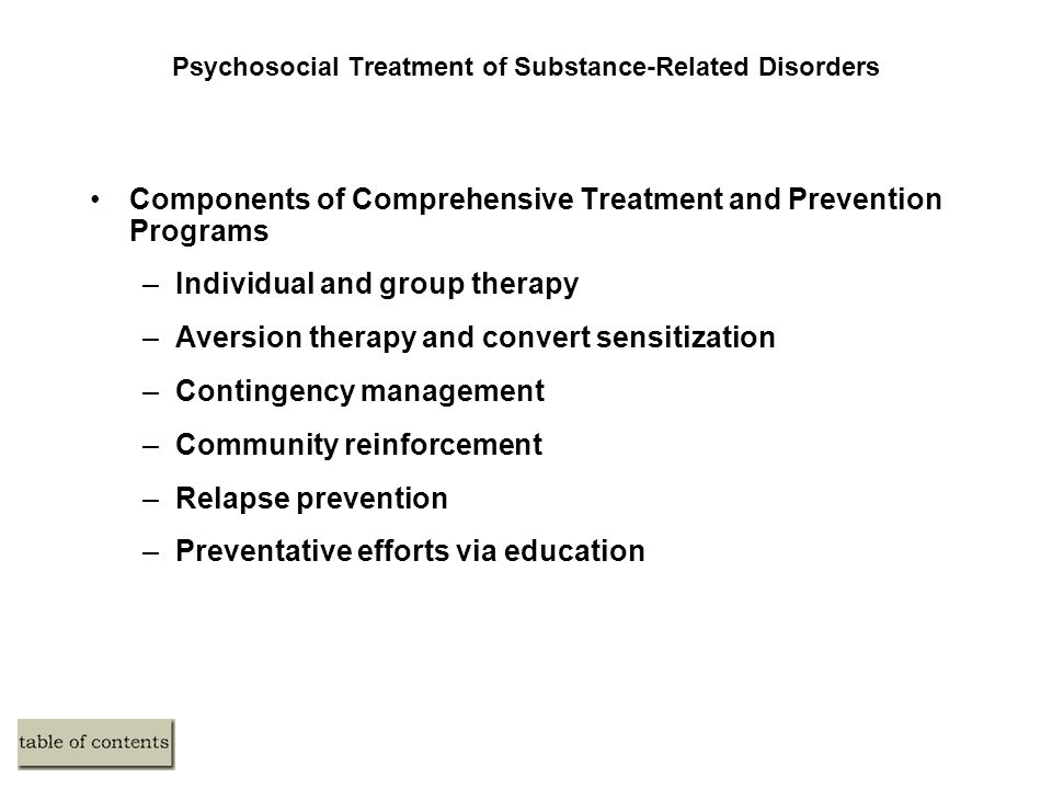 Psychosocial Treatment of Substance-Related Disorders Components of Comprehensive Treatment and Prevention Programs –Individual and group therapy –Aversion therapy and convert sensitization –Contingency management –Community reinforcement –Relapse prevention –Preventative efforts via education