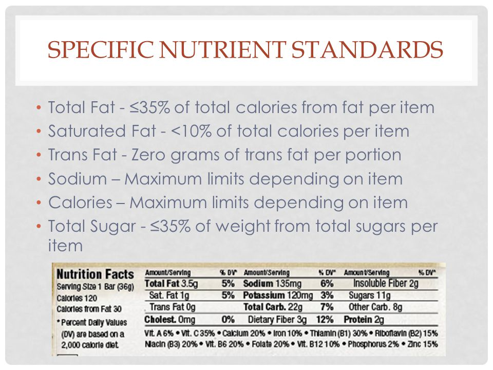 Total Fat - ≤35% of total calories from fat per item Saturated Fat - <10% of total calories per item Trans Fat - Zero grams of trans fat per portion Sodium – Maximum limits depending on item Calories – Maximum limits depending on item Total Sugar - ≤35% of weight from total sugars per item