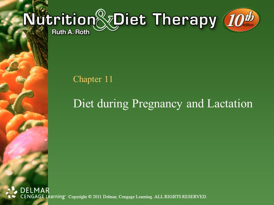 Copyright © 2011 Delmar, Cengage Learning. ALL RIGHTS RESERVED. Chapter 11 Diet during Pregnancy and Lactation