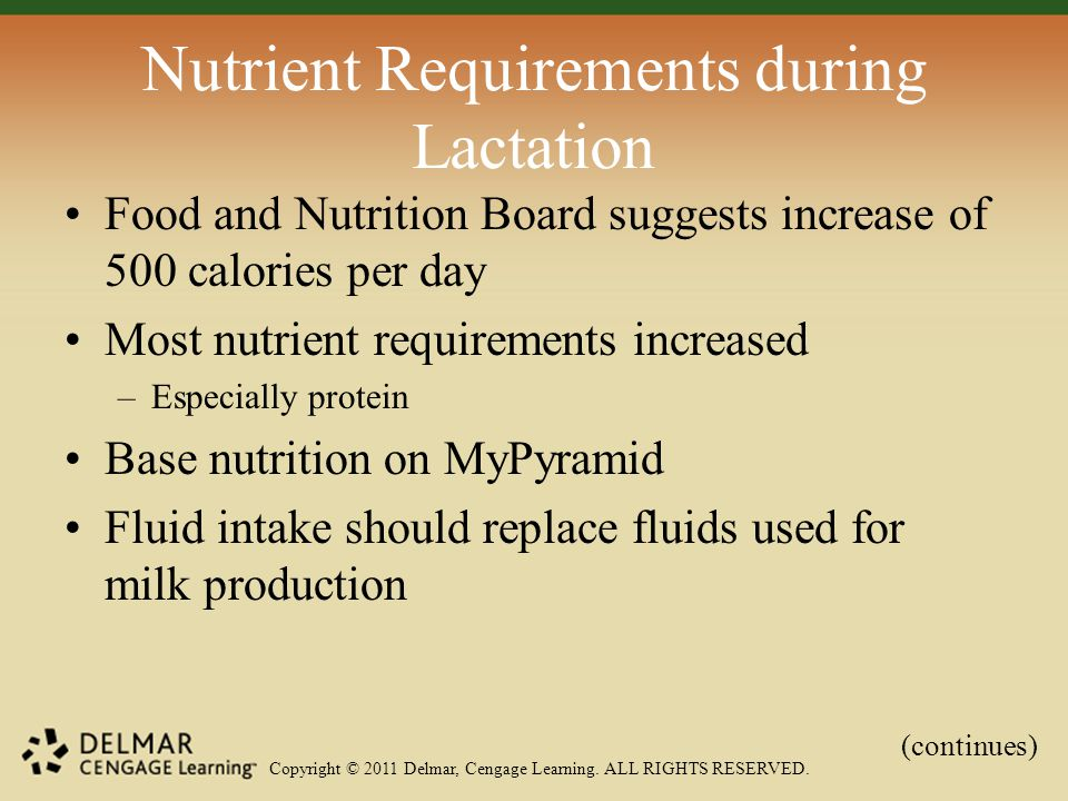 Copyright © 2011 Delmar, Cengage Learning. ALL RIGHTS RESERVED. Nutrient Requirements during Lactation Food and Nutrition Board suggests increase of 5