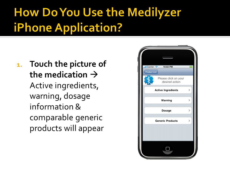 1. Touch the picture of the medication  Active ingredients, warning, dosage information & comparable generic products will appear