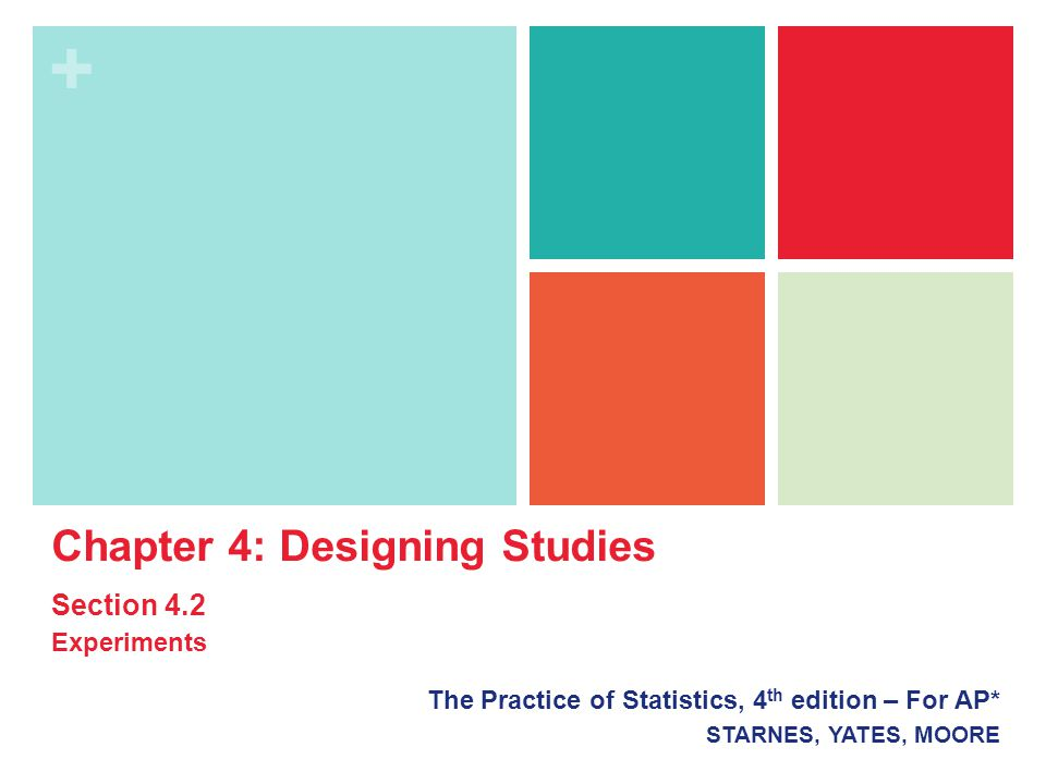 + The Practice of Statistics, 4 th edition – For AP* STARNES, YATES, MOORE Chapter 4: Designing Studies Section 4.2 Experiments