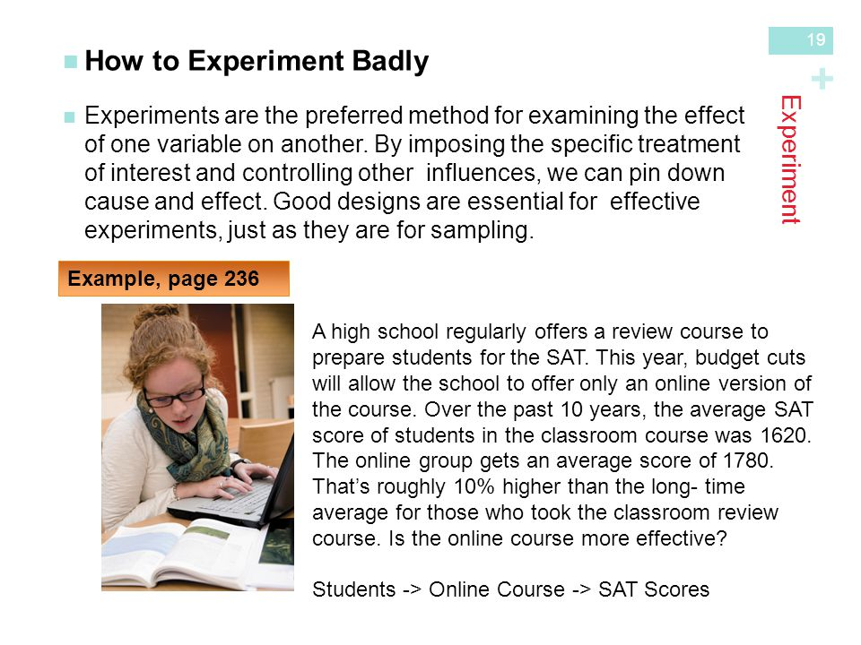 + Experiment How to Experiment Badly Experiments are the preferred method for examining the effectof one variable on another.