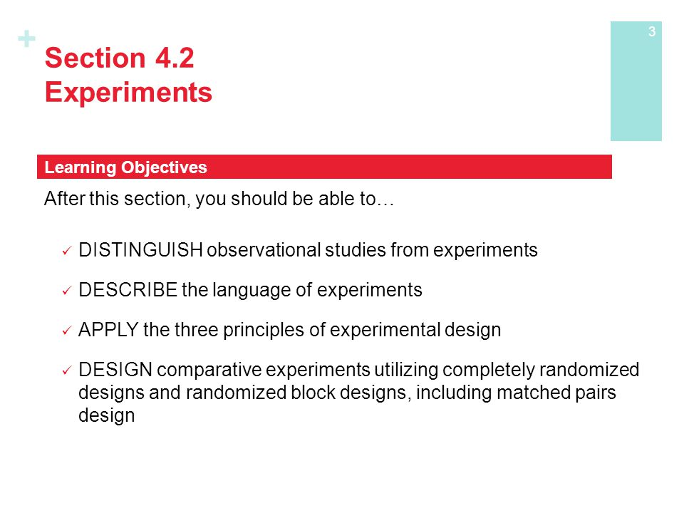 + Section 4.2 Experiments After this section, you should be able to… DISTINGUISH observational studies from experiments DESCRIBE the language of experiments APPLY the three principles of experimental design DESIGN comparative experiments utilizing completely randomized designs and randomized block designs, including matched pairs design Learning Objectives 3
