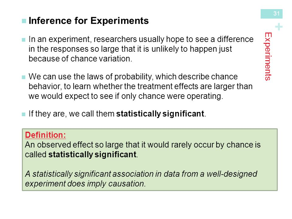 + Experiments Inference for Experiments In an experiment, researchers usually hope to see a differencein the responses so large that it is unlikely to happen justbecause of chance variation.