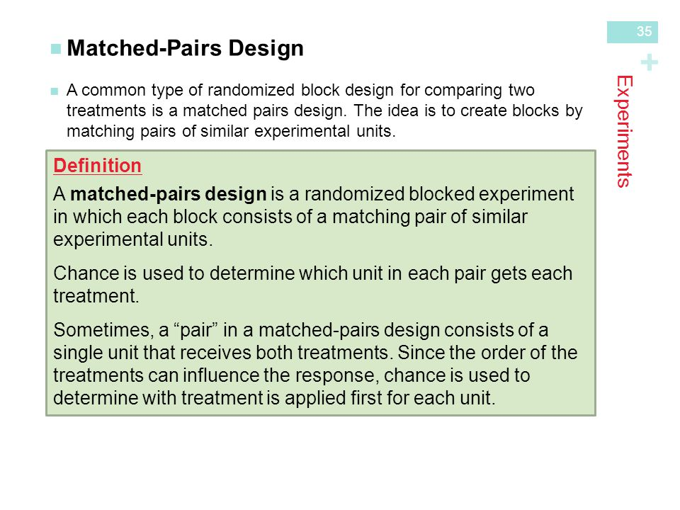 + Experiments Matched-Pairs Design A common type of randomized block design for comparing twotreatments is a matched pairs design.