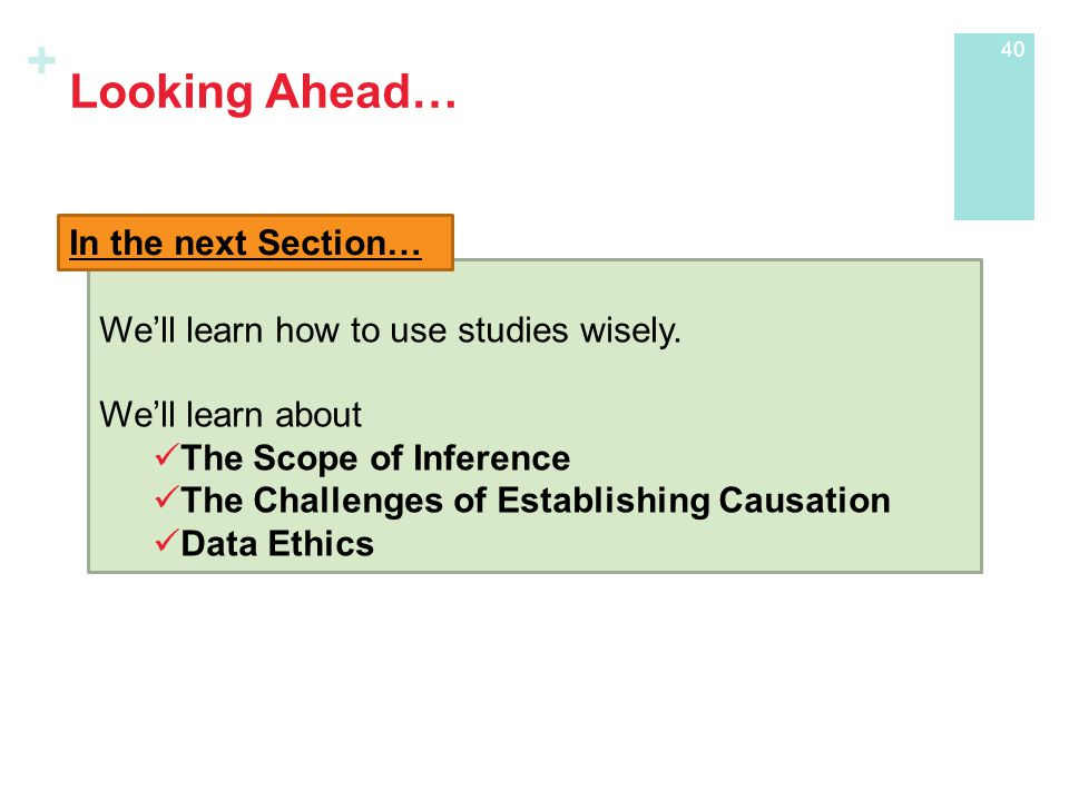 + Looking Ahead… We'll learn how to use studies wisely.