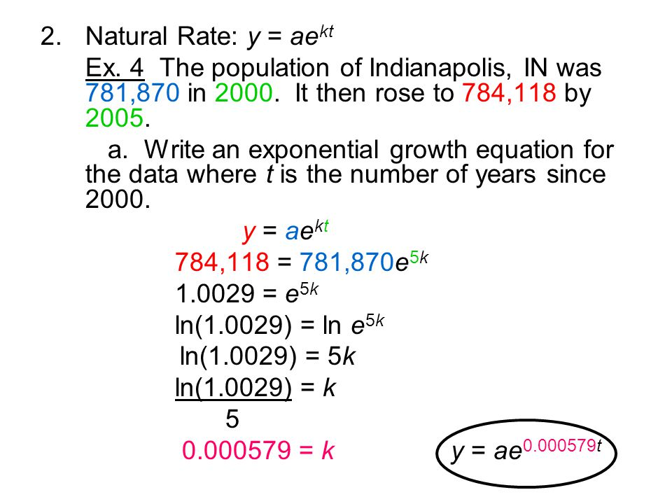 2.Natural Rate: y = ae kt Ex. 4 The population of Indianapolis, IN was 781,870 in 2000.