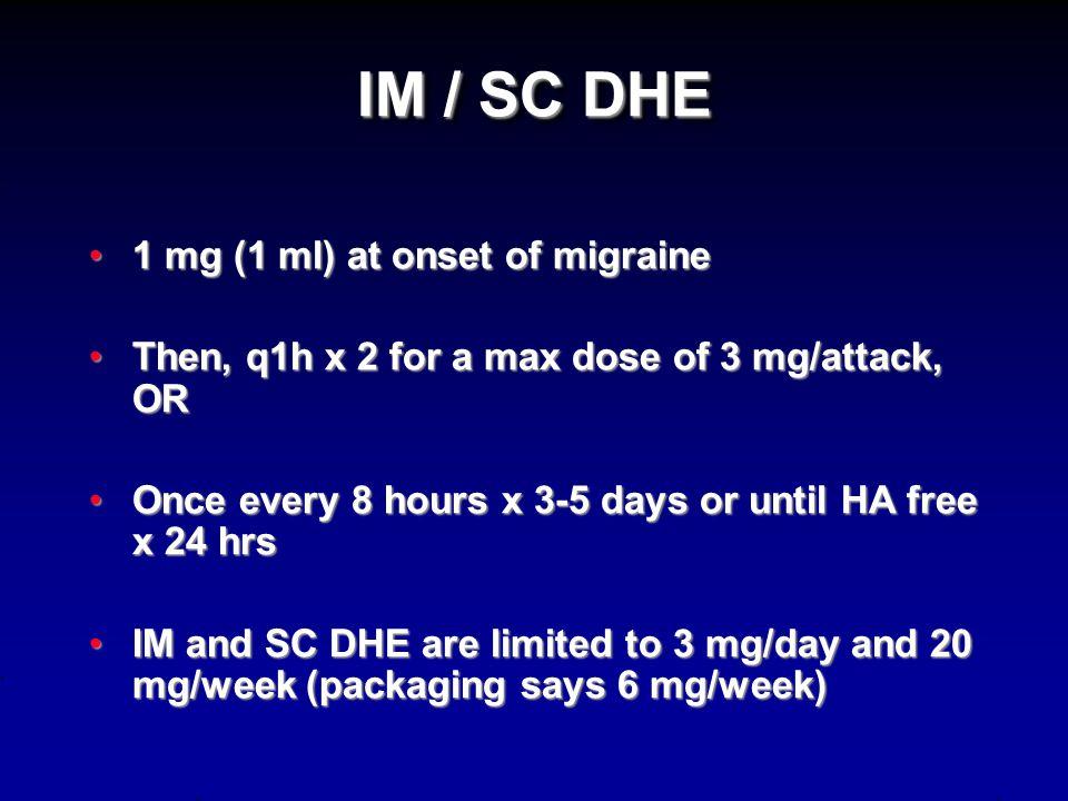 IV DHE 1. +/- EKG if concern for CAD risk 2.