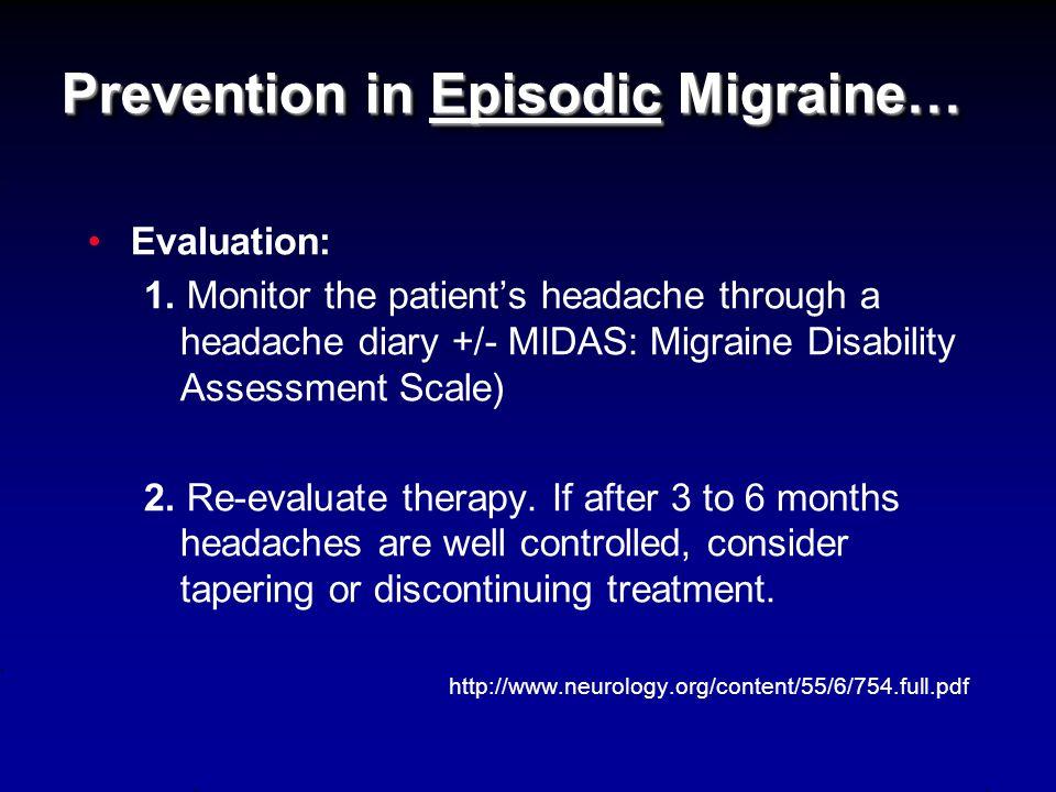 Prevention in Episodic Migraine… Medication use: 1.
