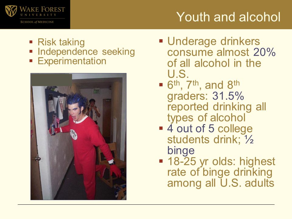 Youth and alcohol  Risk taking  Independence seeking  Experimentation  Underage drinkers consume almost 20% of all alcohol in the U.S.