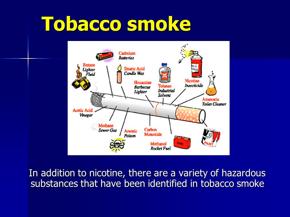 Tobacco smoke Tobacco smoke In addition to nicotine, there are a variety of hazardous substances that have been identified in tobacco smoke In addition to nicotine, there are a variety of hazardous substances that have been identified in tobacco smoke