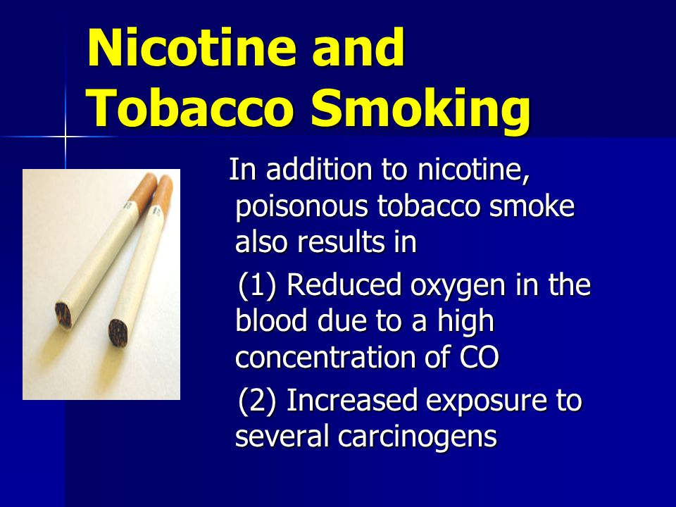 Nicotine and Tobacco Smoking In addition to nicotine, poisonous tobacco smoke also results in In addition to nicotine, poisonous tobacco smoke also results in (1) Reduced oxygen in the blood due to a high concentration of CO (1) Reduced oxygen in the blood due to a high concentration of CO (2) Increased exposure to several carcinogens (2) Increased exposure to several carcinogens