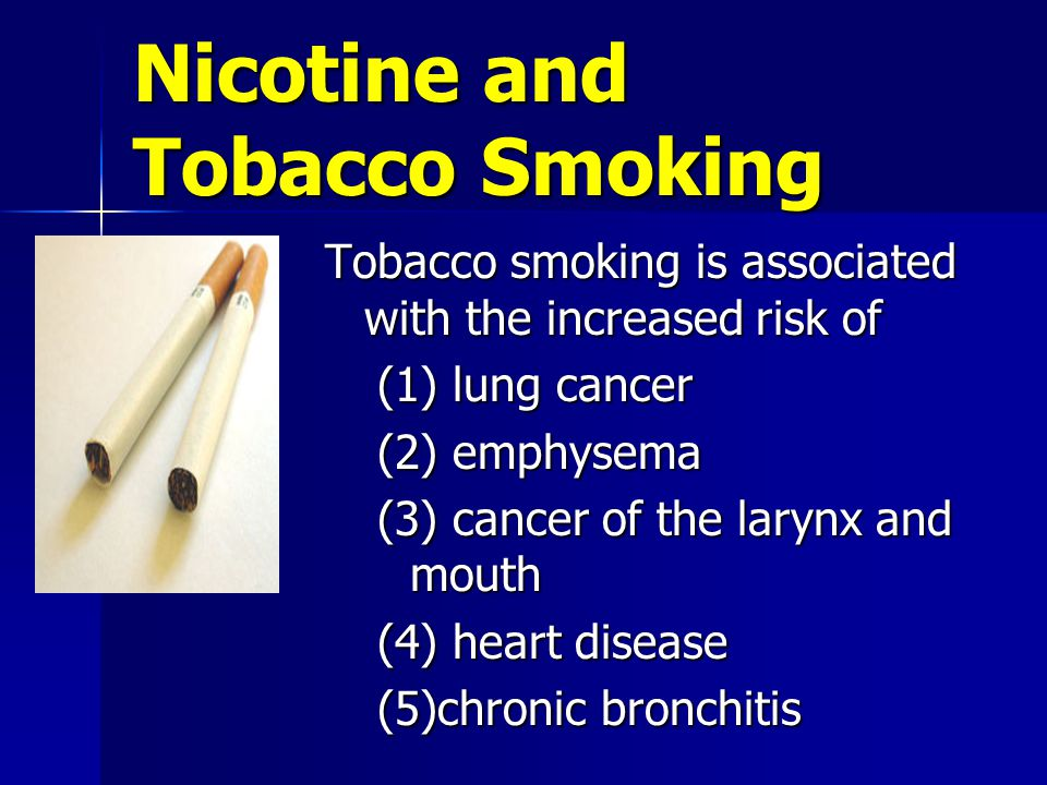 Nicotine and Tobacco Smoking Tobacco smoking is associated with the increased risk of (1) lung cancer (2) emphysema (3) cancer of the larynx and mouth (4) heart disease (5)chronic bronchitis