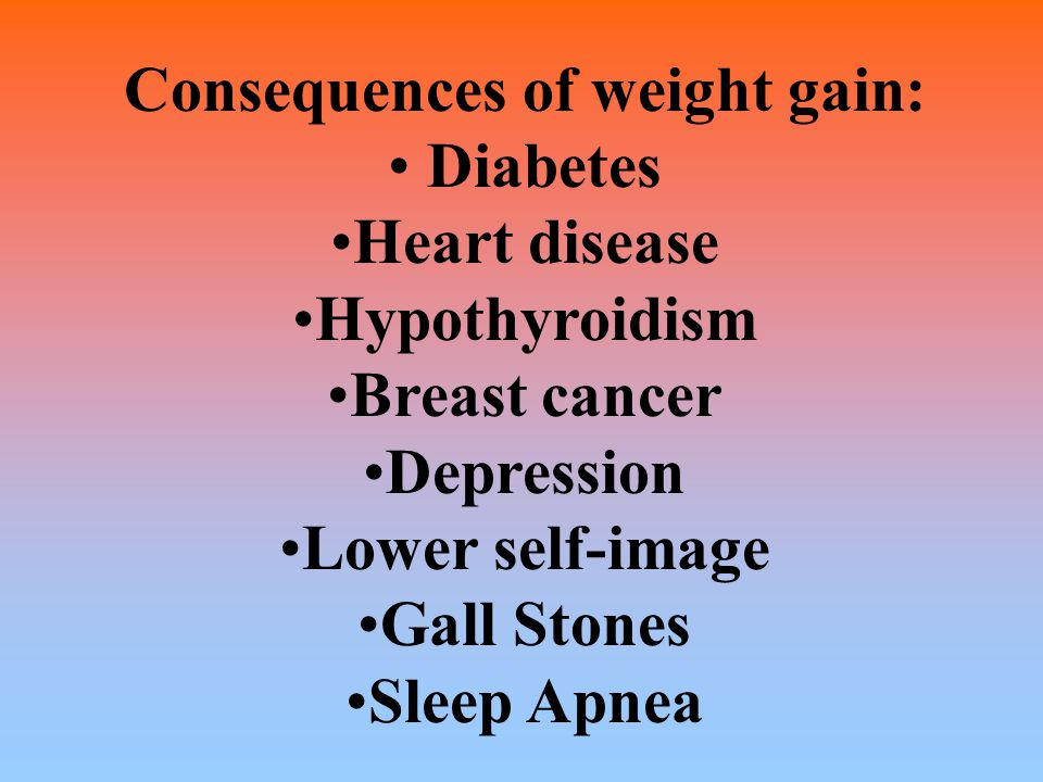 Consequences of weight gain: Diabetes Heart disease Hypothyroidism Breast cancer Depression Lower self-image Gall Stones Sleep Apnea
