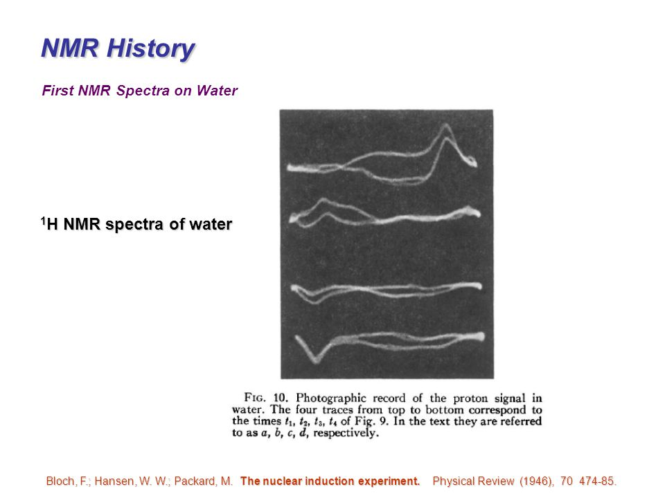 First NMR Spectra on Water Bloch, F.; Hansen, W. W.; Packard, M. The nuclear induction experiment. Physical Review (1946), 70 474-85. 1 H NMR spectra