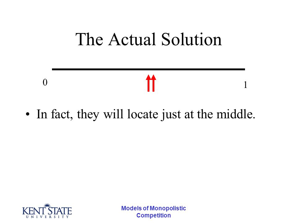 Models of Monopolistic Competition The Actual Solution In fact, they will locate just at the middle. 0 1