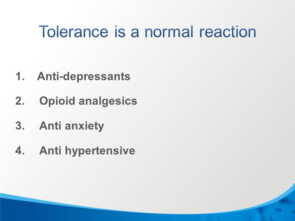 1. Anti-depressants 2.Opioid analgesics 3.Anti anxiety 4.Anti hypertensive