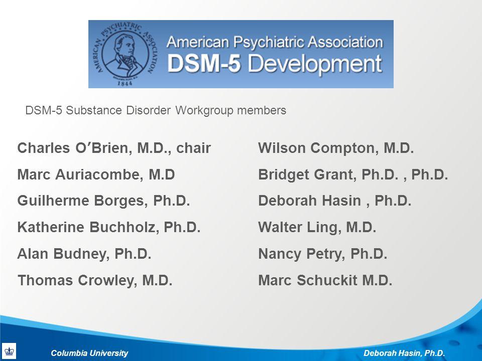 Columbia University Deborah Hasin, Ph.D. Wilson Compton, M.D.