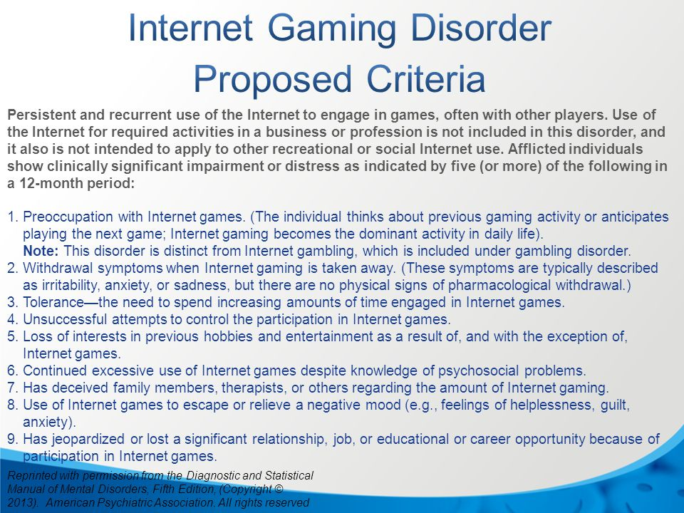 Persistent and recurrent use of the Internet to engage in games, often with other players. Use of the Internet for required activities in a business o