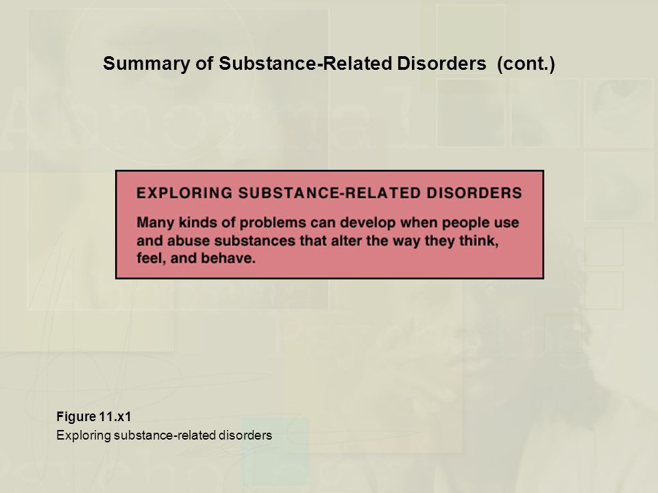 Summary of Substance-Related Disorders (cont.) Figure 11.x1 Exploring substance-related disorders
