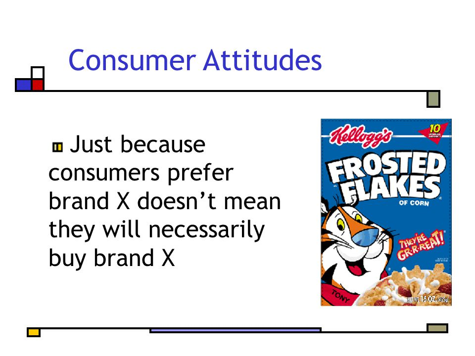 Consumer Attitudes Just because consumers prefer brand X doesn't mean they will necessarily buy brand X