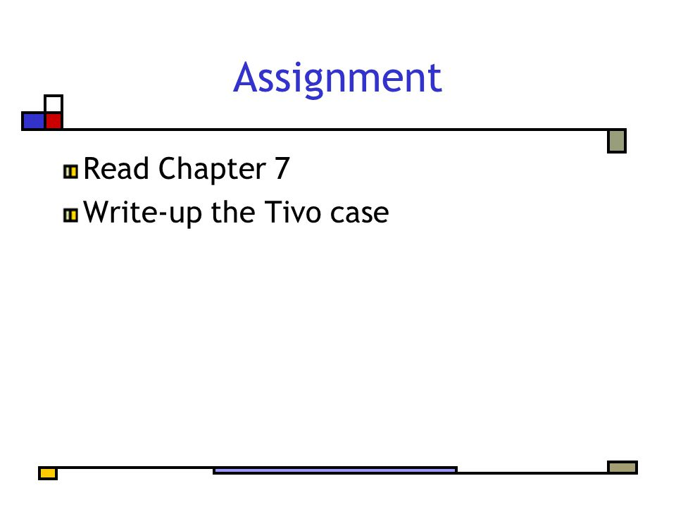Assignment Read Chapter 7 Write-up the Tivo case