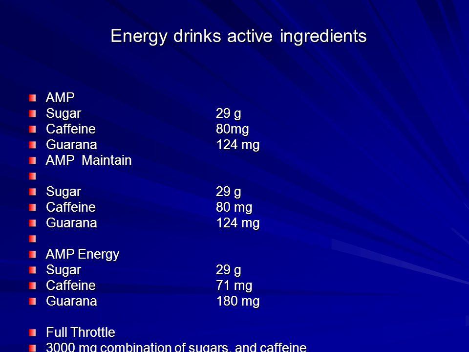 Energy drinks active ingredients AMP Sugar29 g Caffeine80mg Guarana 124 mg AMP Maintain Sugar29 g Caffeine80 mg Guarana 124 mg AMP Energy Sugar29 g Ca