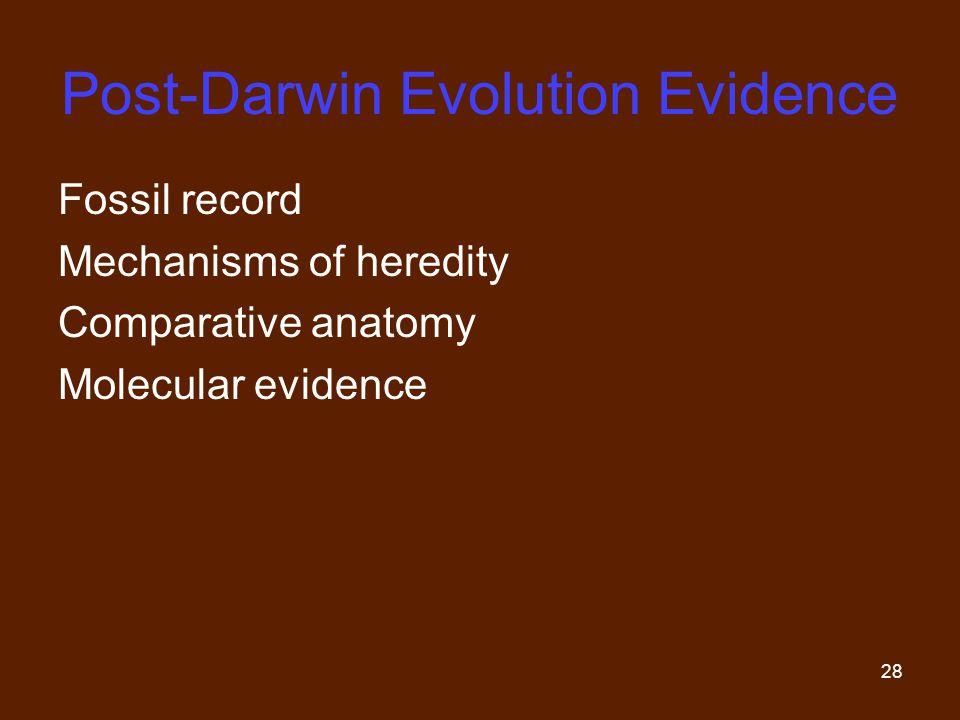 28 Post-Darwin Evolution Evidence Fossil record Mechanisms of heredity Comparative anatomy Molecular evidence