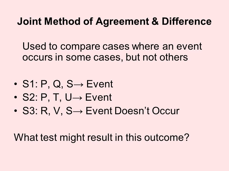 Joint Method of Agreement & Difference Used to compare cases where an event occurs in some cases, but not others S1: P, Q, S→ Event S2: P, T, U→ Event S3: R, V, S→ Event Doesn't Occur What test might result in this outcome