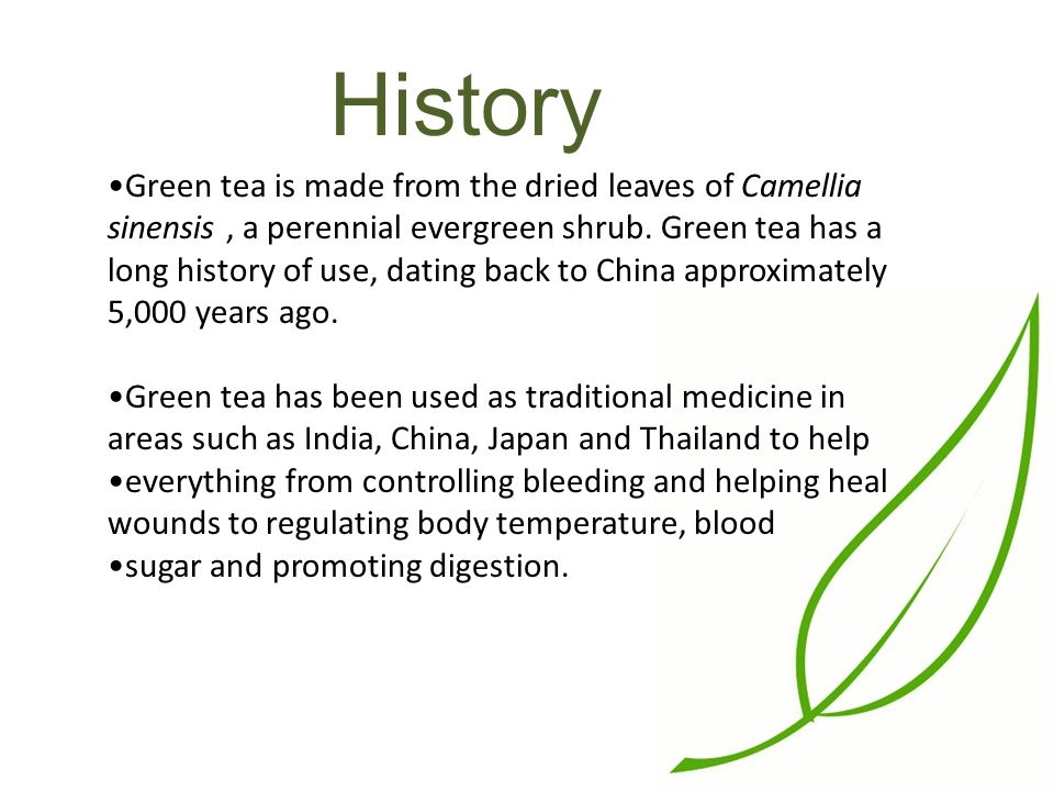 History Green tea is made from the dried leaves of Camellia sinensis, a perennial evergreen shrub.