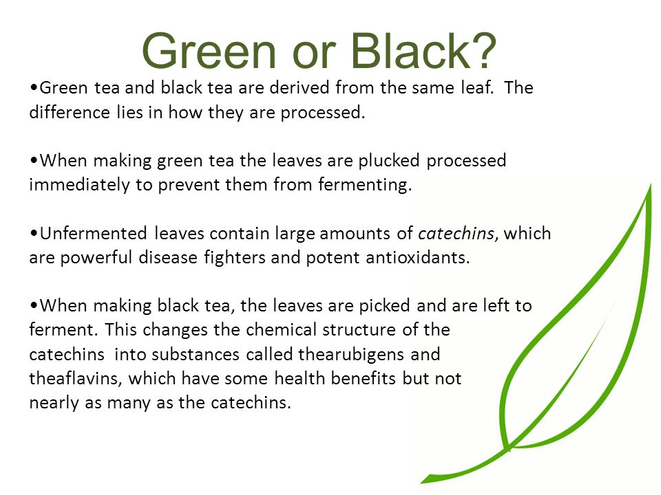 Green or Black. Green tea and black tea are derived from the same leaf.